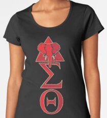Elefant-Delta-Dreieck Sigma-Rot Theta T-Shirt 2 Premium Rundhals-Shirt