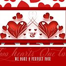 Perfect Pair Romantic Two Red Hearts  by Doreen Erhardt