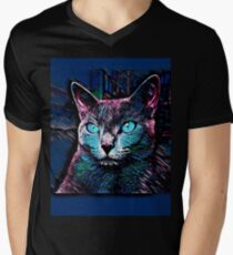 CAT MULTICOLOR Men's V-Neck T-Shirt