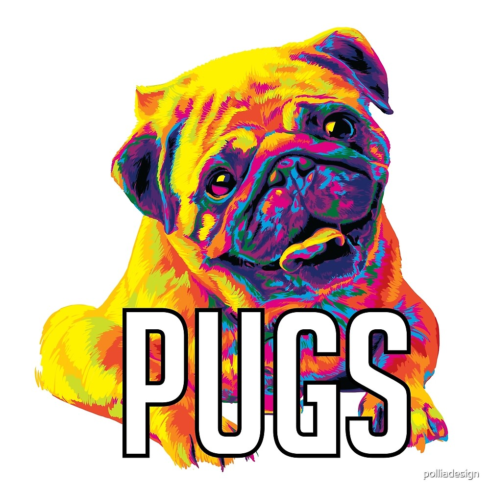 Rainbow Pugs Smiling Cute Digital Painting by polliadesign