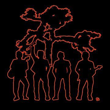 Irish Rock Stars In Red Outline Glow by jeremygwa