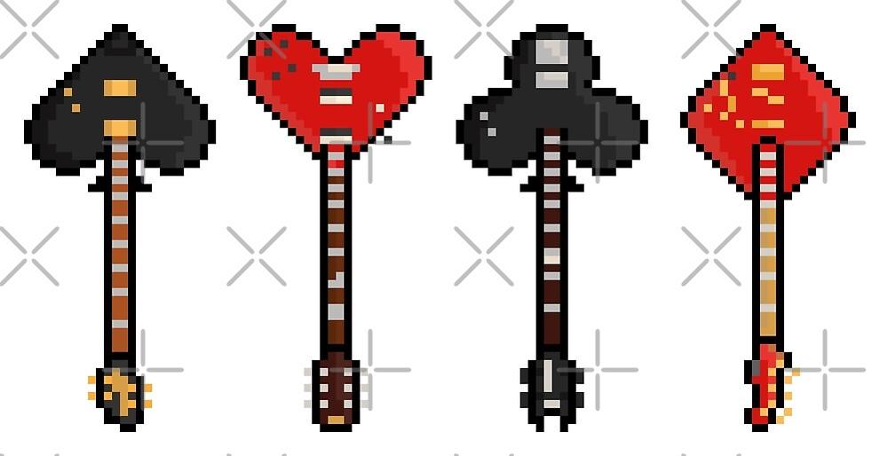 Pixel Poker Suit Rock N Roll Guitars by gkillerb