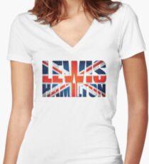 Lewis Hamilton - British Flag Women's Fitted V-Neck T-Shirt