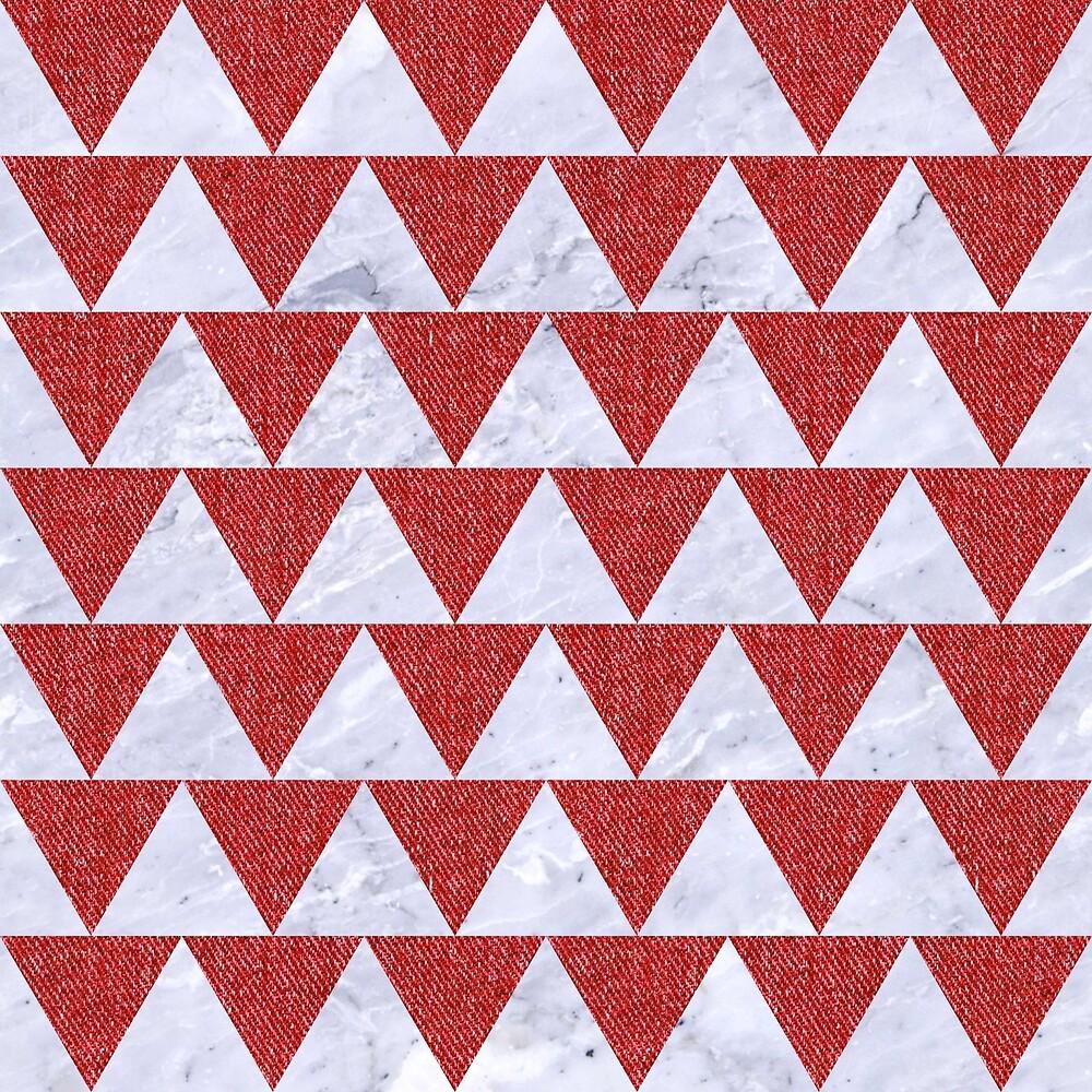 TRIANGLE2 WHITE MARBLE & RED DENIM by johnhunternance