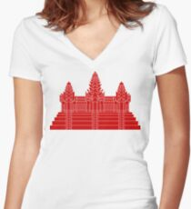 Angkor Wat Ver.2.0 Khmer Temple Women's Fitted V-Neck T-Shirt