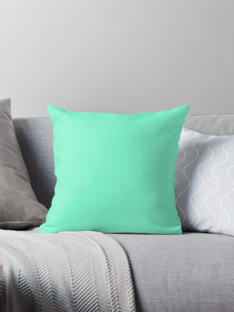Cheap Solid Bright Aquamarine Aqua Blue Green Color Throw Pillow By Discounted Solid Colors