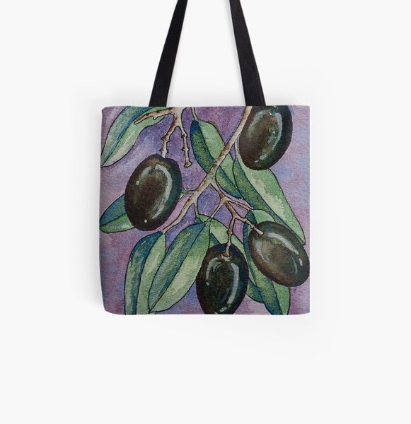 Watercolor olive branch All Over Print Tote Bag