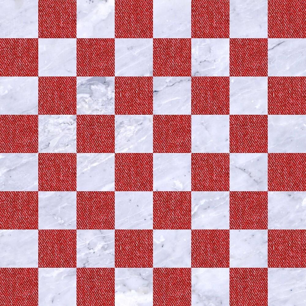 SQUARE1 WHITE MARBLE & RED DENIM by johnhunternance