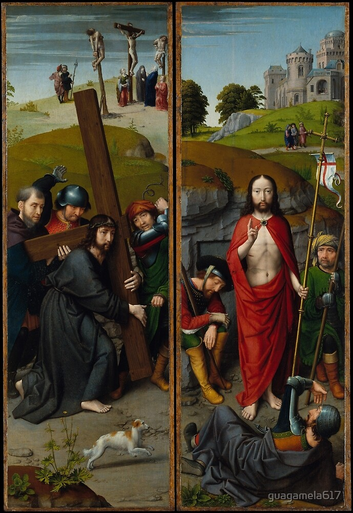 Christ Carrying the Cross, with the Crucifixion; The Resurrection, with the Pilgrims of Emmaus by guagamela617