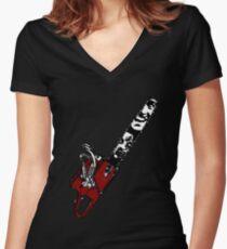 Ash vs Evil Dead chainsaw Women's Fitted V-Neck T-Shirt