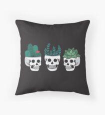 Skull Plants Trio Throw Pillow