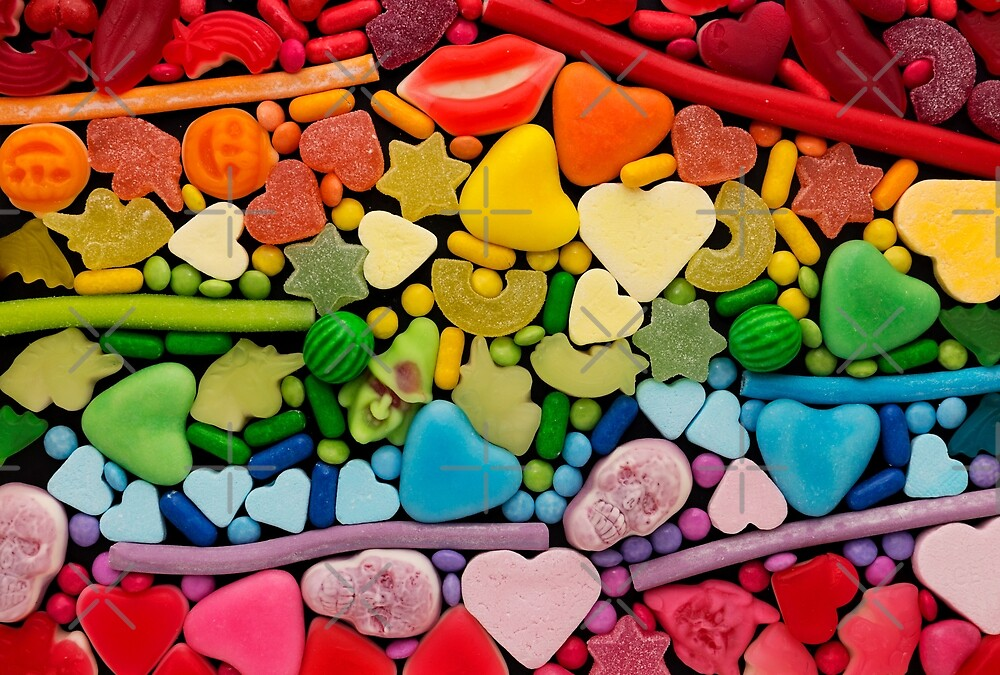 Assortment of candy ordered in rainbow colors by Karin Elizabeth