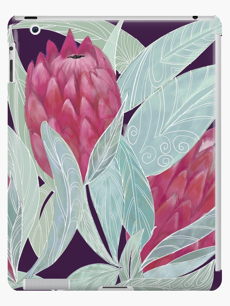 Exotic pink Protea flower pattern by ahahdodo