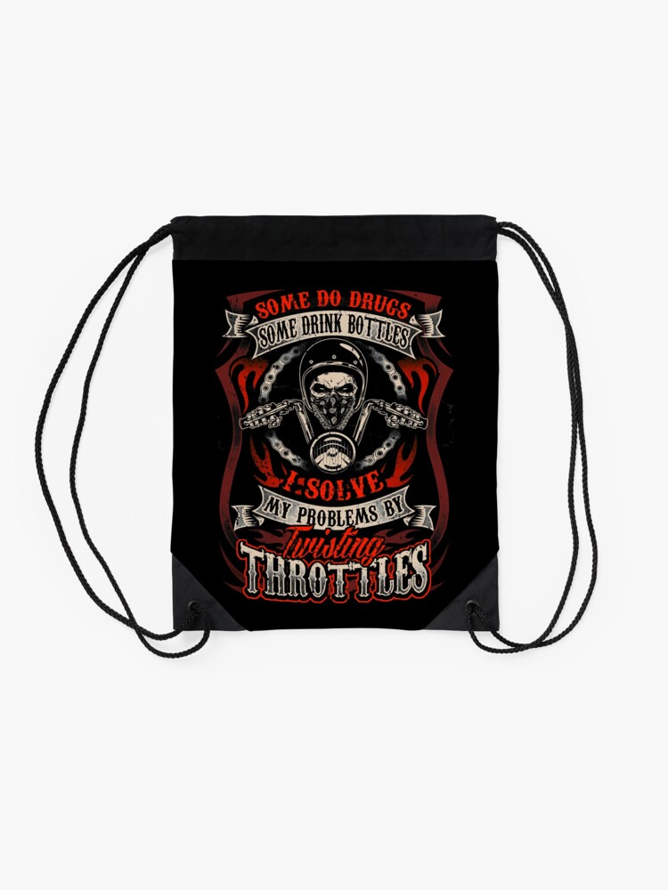 Alternate view of Motorcycle Biker Lifestyle Asphalt Problem Solution Drawstring Bag