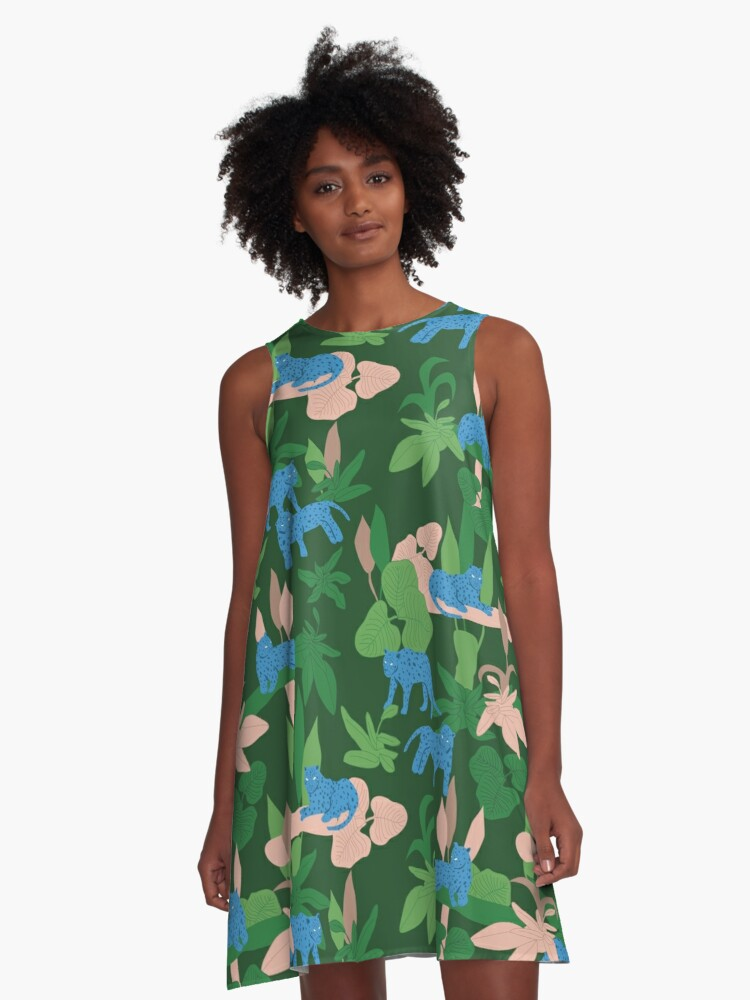 Blue Leopards in Woods A-Line Dress Front
