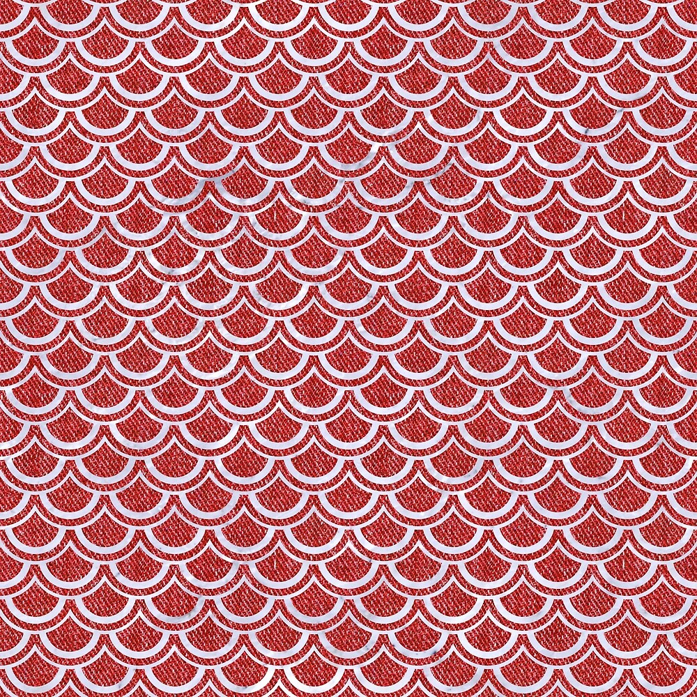 SCALES2 WHITE MARBLE & RED DENIM by johnhunternance