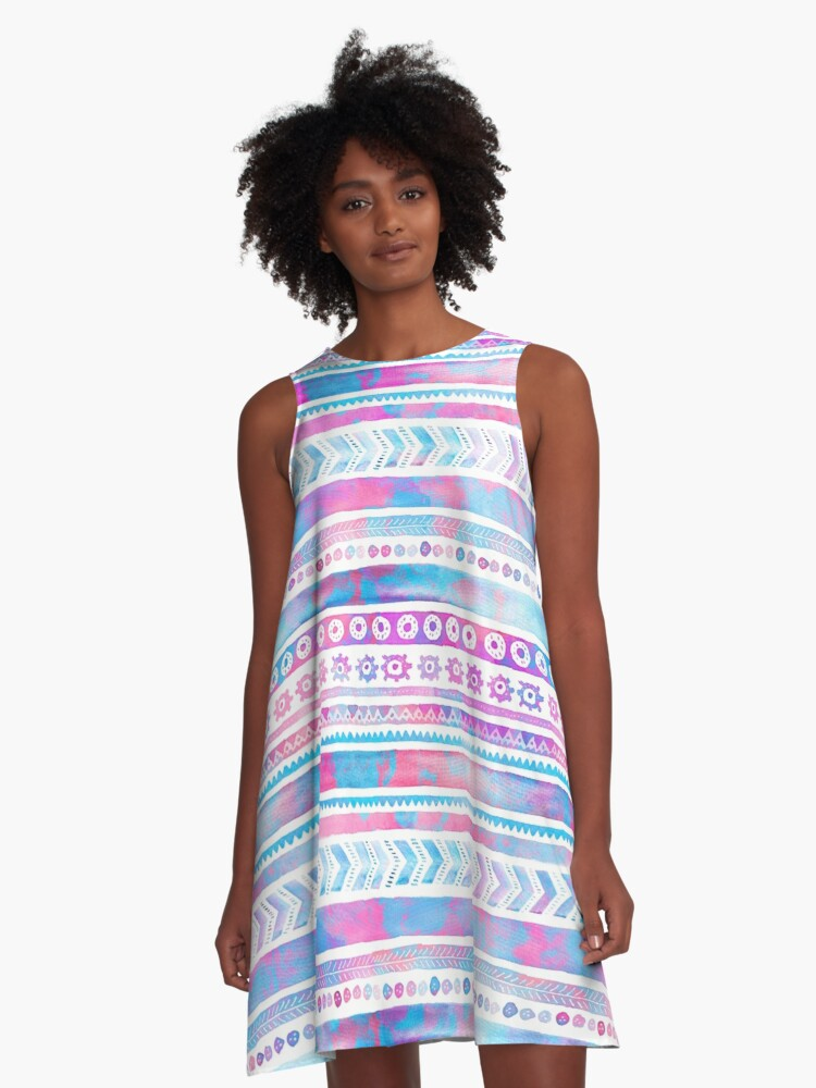 Watercolor Tribal Pattern A-Line Dress Front