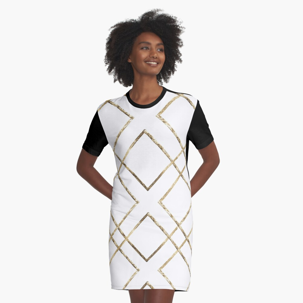 Gold ornament Graphic T-Shirt Dress Front