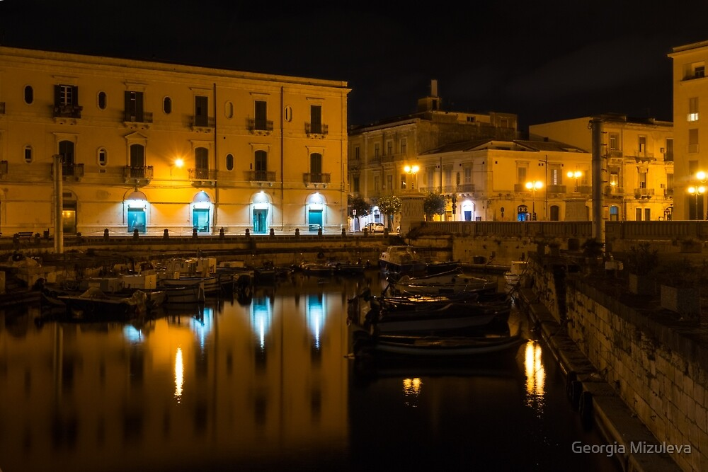 Midnight Silence and Solitude - Syracuse Sicily Illuminated Waterfront  by Georgia Mizuleva
