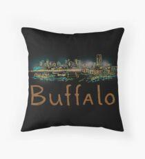 Buffalo City Panorama in der Nacht Dekokissen