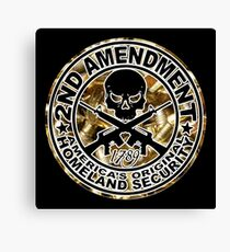 Second Amendment with Skull and Bullets Canvas Print