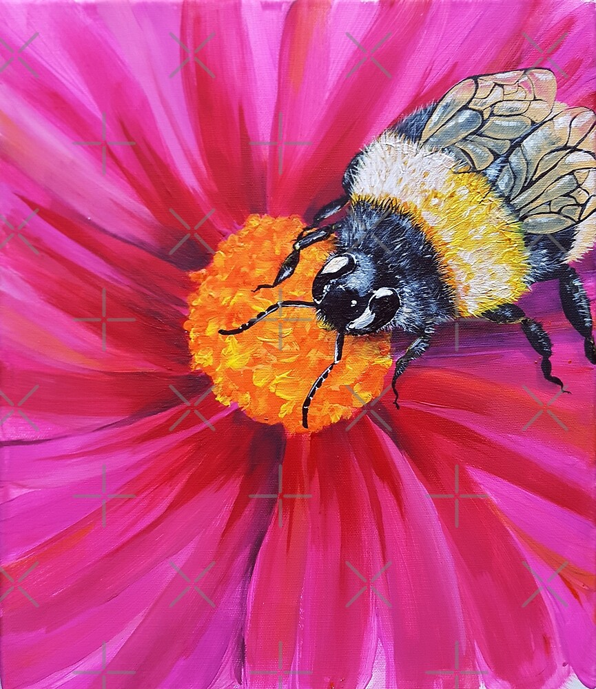 Bumble Bee on Cosmos Flower by PicajoArt