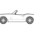 Triumph Spitfire mk3 Classic Car Outline Drawing by RJWautographics
