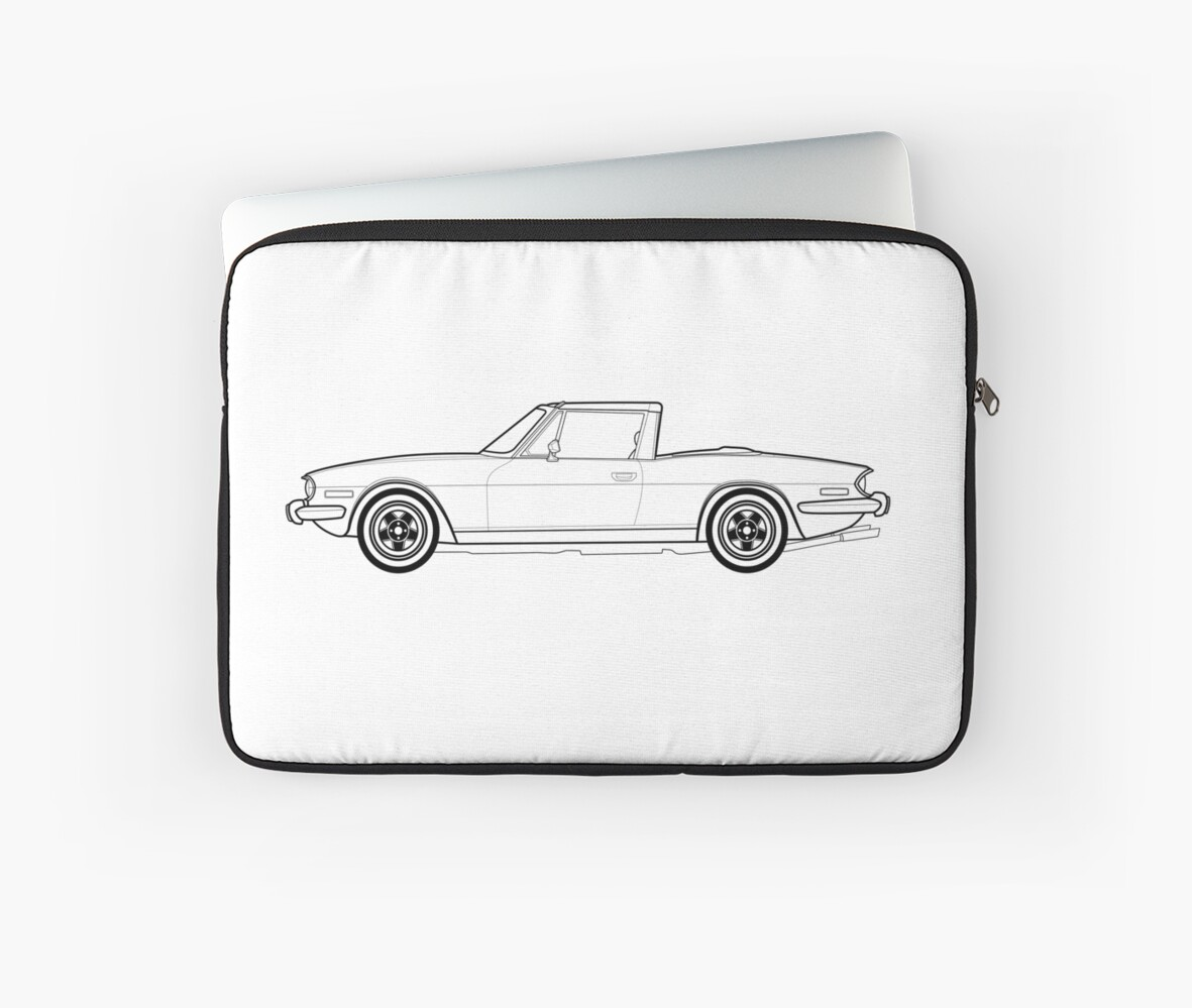 Triumph Stag Classic Car Outline Artwork Laptop Sleeves By