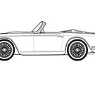 Triumph TR4A Classic Car Outline Artwork by RJWautographics