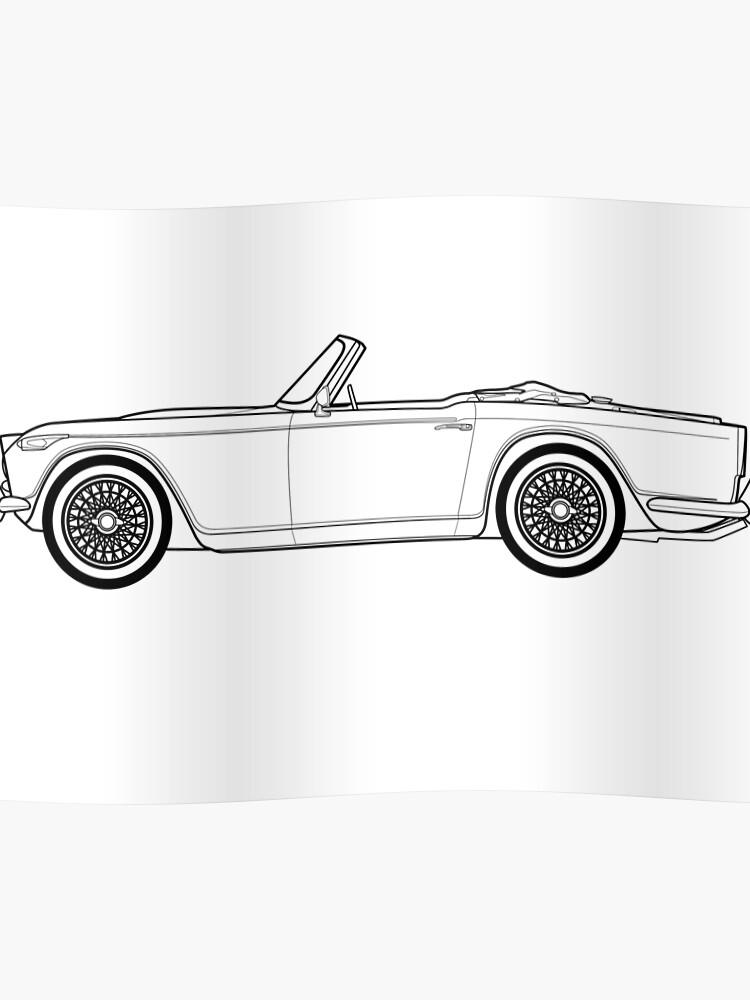 Triumph TR4A Classic Car Outline Artwork | Poster