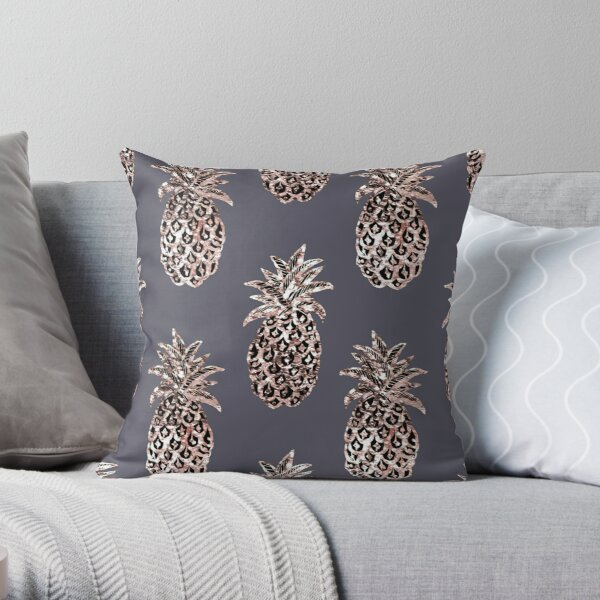 Rose Gold Sparkle Pineapple Throw Pillow