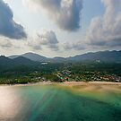 Aerial view of emerald tropical sea and beach by Lukasz Szczepanski