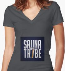 Sauna Tribe - Stacked Axe Wordmark Women's Fitted V-Neck T-Shirt