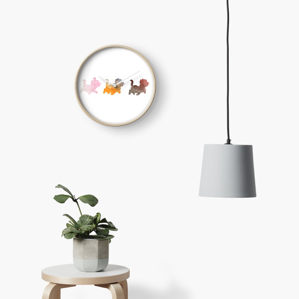 Kittens Inspired Silhouette Clock