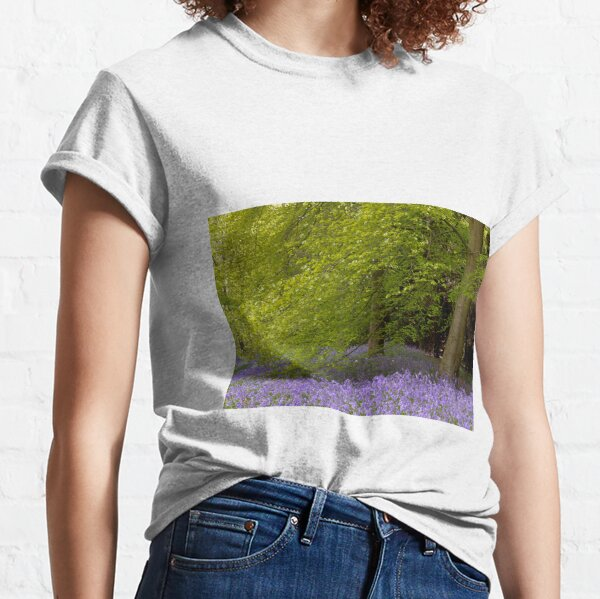 Bluebells nestle under a beech tree in the English Springtime  Classic T-Shirt