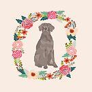 weimaraner floral wreath dog portrait by PetFriendly