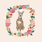 whippet floral wreath dog portrait by PetFriendly