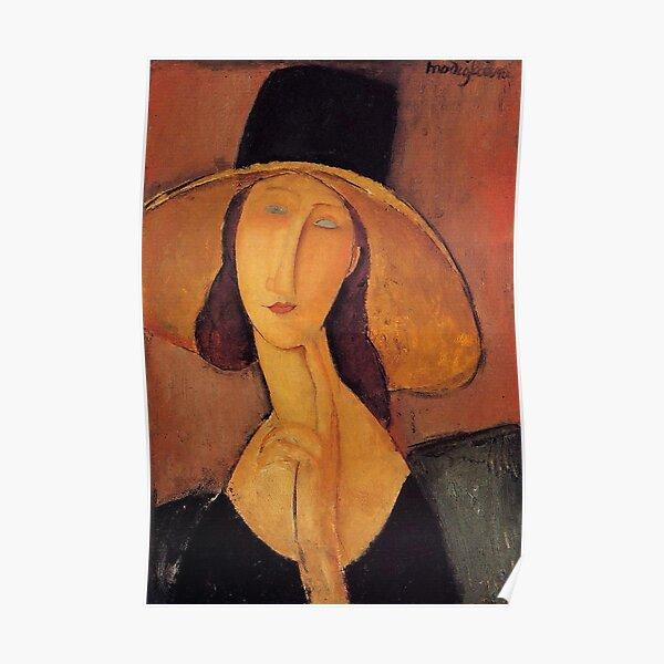 Vintage Amedeo Modigliani - Femme avec chapeau c1920 Fine Art Poster