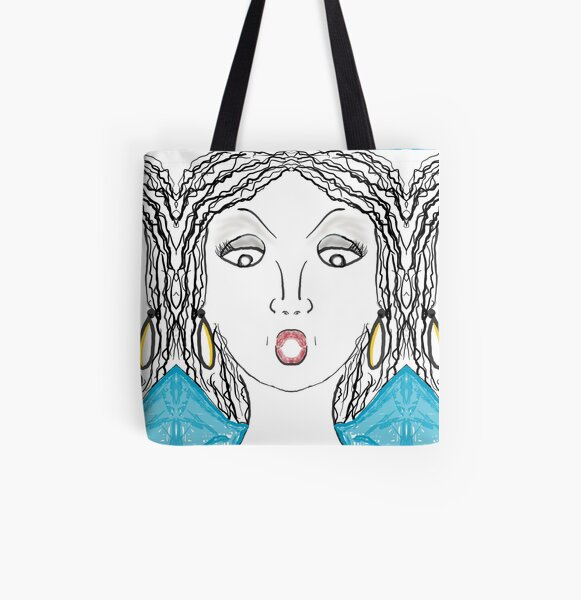 Woman with red mouth and gold earrings All Over Print Tote Bag