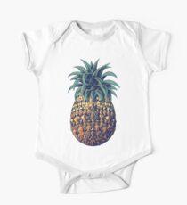 Kunstvolle Ananas (Farbversion) Baby Body Kurzarm