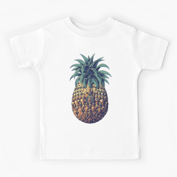 Ornate Pineapple (Color Version) Kids T-Shirt