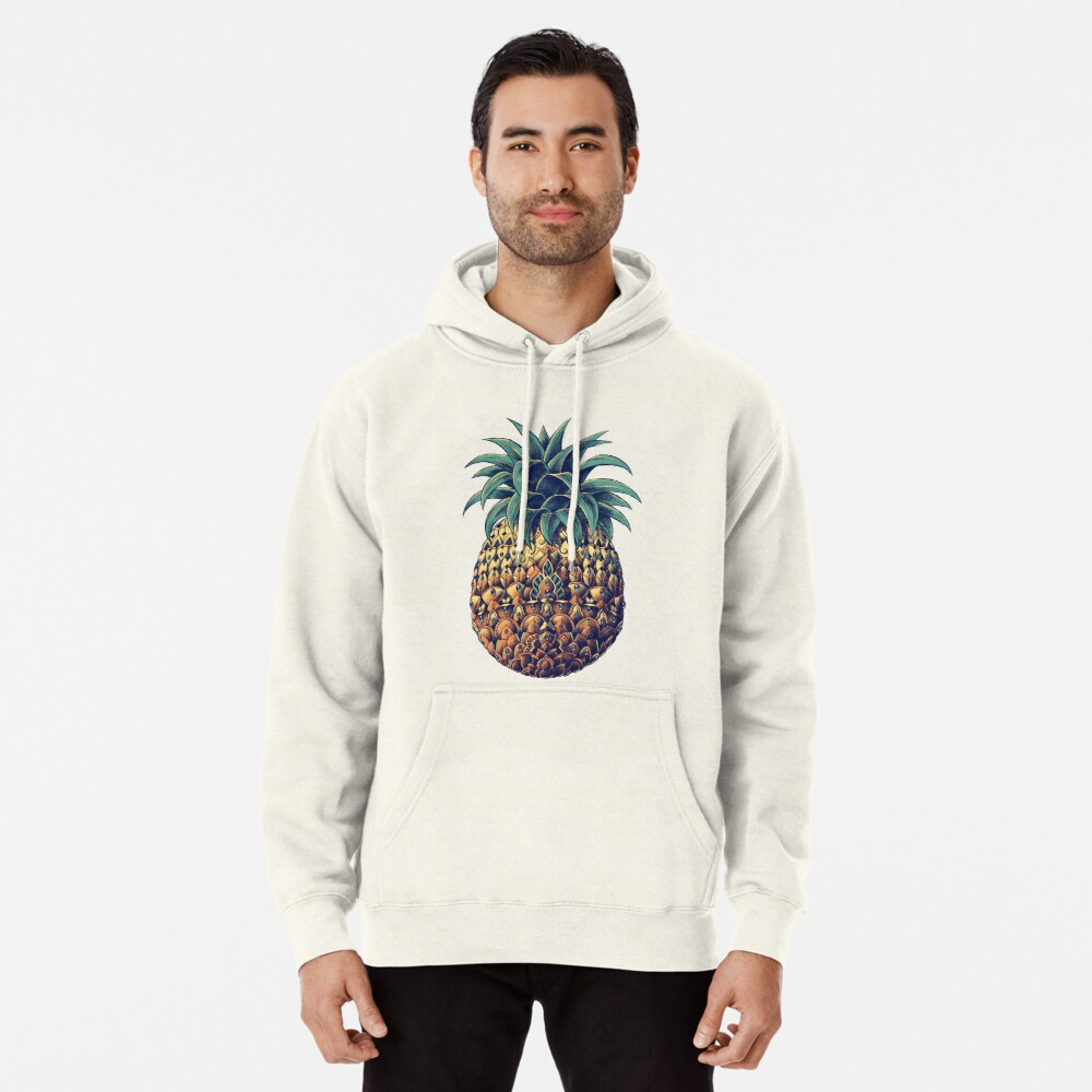 Ornate Pineapple (Color Version) Pullover Hoodie