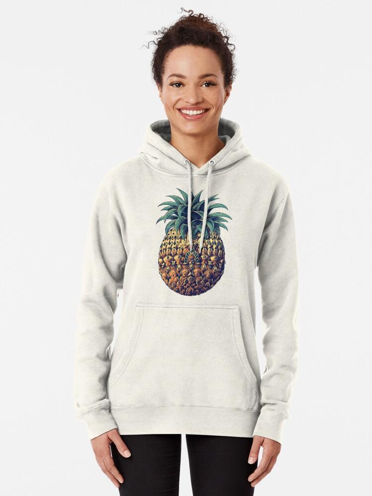 Alternate view of Ornate Pineapple (Color Version) Pullover Hoodie