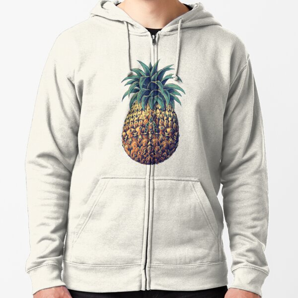 Ornate Pineapple (Color Version) Zipped Hoodie