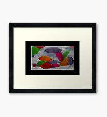 Cloudy with a Chance of Umbrellas Poster Framed Print