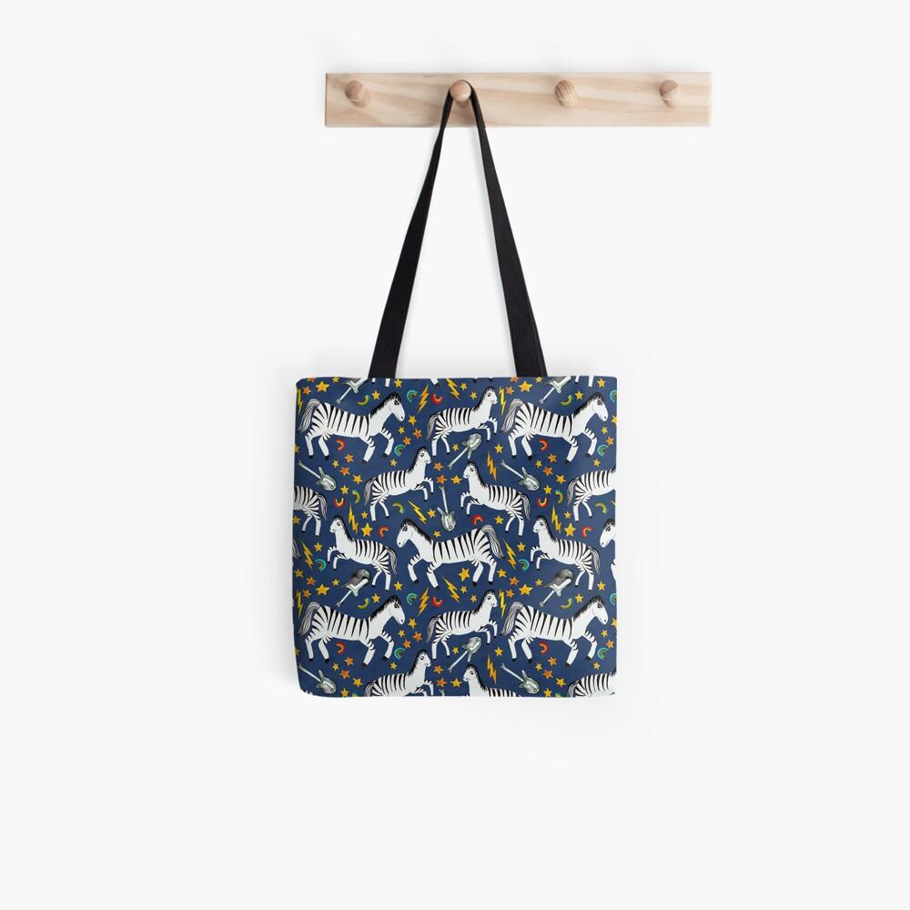 Rockin Rainbow Zebras on Blue Tote Bag