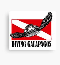 Galapagos Diving with Sea Turtle Canvas Print