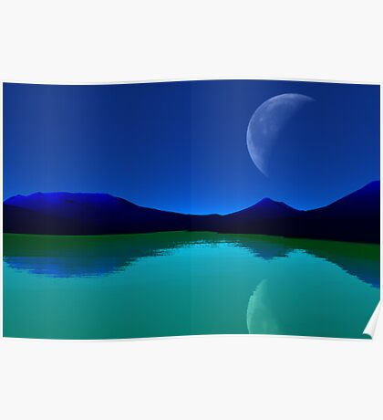 Earthlight - Blue Mountains,Green Seas. Poster