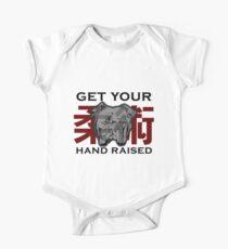 """Get Your Hand Raised"" - Jiu Jitsu Bulldog (on white) One Piece - Short Sleeve"