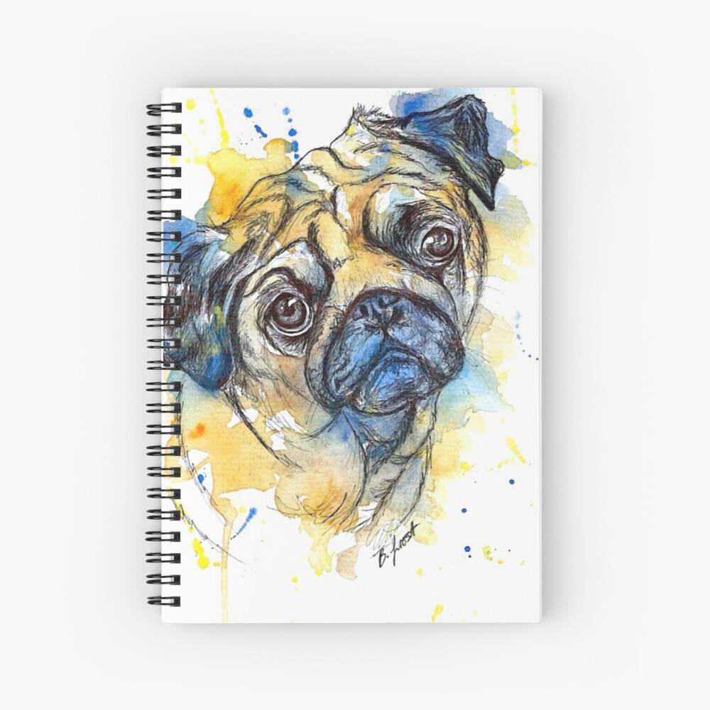 Colourful Pug Spiral Notebook